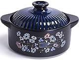 LSBYZYT Piatti in casseruola Pentola Ceramica per zuppa Casseruola di Terracotta Pietra Riso Grande Stile Giapponese con Gas e Fiamma Aperta Speciale fornello a induzione 3L