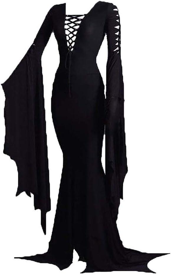 Women's Morticia Addams Floor Dress Witch Max 69% OFF Vi Sexy Gothic Costume Super sale