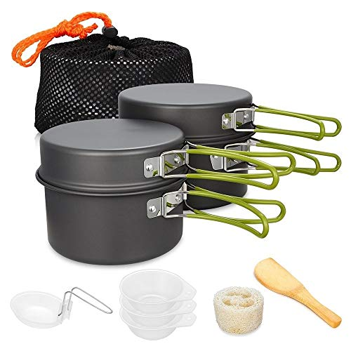 CYSHAKE Outdoor 2-3 People Portable Camping Pot Set Picnic Pot Hiking Set Tableware Portable Cooking (Color : Green)