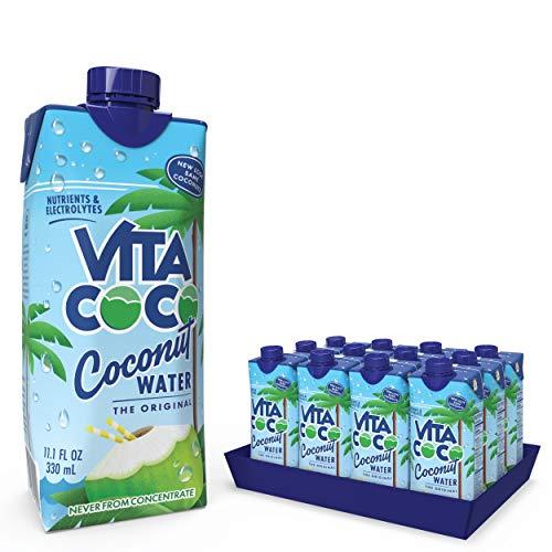 Vita Coco - Reines Kokoswasser (330 ml x 12) - Natürlich feuchtigkeitsspendend - Vollgepackt mit Elektrolyten - Glutenfrei - Voll mit Vitamin C und Kalium