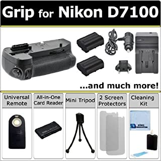 Professional Vertical D7100 Multi Purpose Battery Grip for Nikon D7100 DSLR Camera + 2 EN-EL15 Long Life Batteries + AC/DC Turbo Charger With Travel Adapter + Universal Wireless Remote + All In One Card Reader + Complete Deluxe Starter Kit (MB-D15 MBD15)