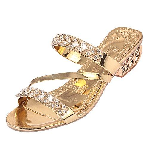Sandales Compensées Femmes,Honestyi Escarpins Talon Epais Chaussures Strass Mode Sandales Facile à Assortir Tongs Bouche de Poisson Chaussures Wedge Shoes