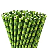 ALINK Green Bamboo Print Paper Straws, Biodegradable Party Drinking Straws, Pack of 100