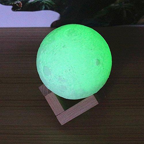 Télécommande Coloré 3D Lune Lampe Deux Couleurs Tactile Lune Lampe Gradient de Charge de Nuit,Une,8 CM