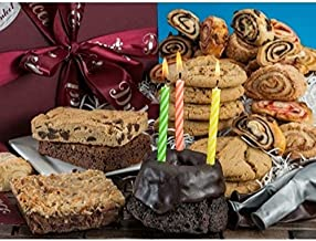 Dulcet Gift Baskets Birthday Party Goodies in a Box with Candles and balloons, Fresh Chunky Cookies, Chocolate Brownies, Mini Fluted Chocolate Cake and Rugelah The Perfect Gift for Birthday Parties, Friends, Family, Kids, Him, Her & Parents