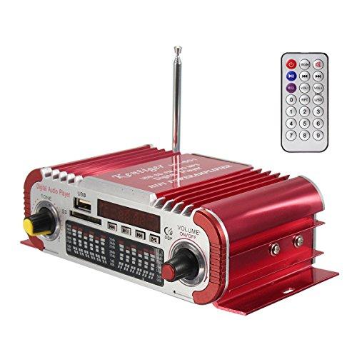 DollaTek 2 Kanäle Hi-Fi Mini-Digital-Motorrad Auto Auto-Stereo-Endstufe Sound-Modus Audio-Musik-Player unterstützen USB/FM/SD für Auto Motorrad Auto Auto CD DVD DC 12V Eingang - Rot