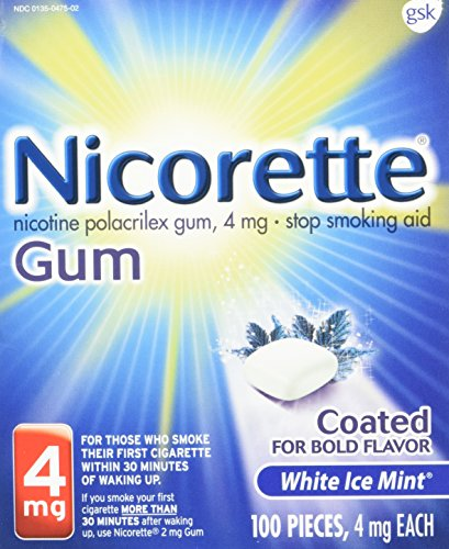 Nicorette Nicotine Gum White Ice Mint 4mg 100ct Stop Quit Smoking Craving Aid