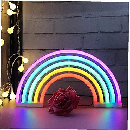 Mueuton Arco Iris LED Luces de neón Arte Colorido letreros de neón lámpara Interior Noche luz decoración de Pared para el hogar Fiesta de cumpleaños luz de Noche de San Valentín