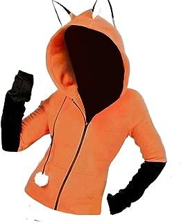 MogogoWomen Hooded Comfort Jackets Zip-Front Rabbit Ear Sweatshirt