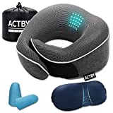 Travel Pillow 100% Pure Memory Foam Neck Pillows for Airplane, Soft Neck Chin Support, Comfortable & Breathable Cover, Machine Washable, Travel Kit with Sleep Mask, Earplugs, Drawstring Bag