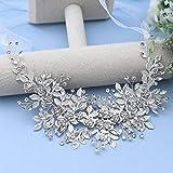 AMORARSI Bridal Headpiece Silver Rhinestone Wedding Headband Crystal Hair Accessories Wedding Hair Bands for Brides