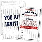 9th Birthday Party Invitations with Envelopes – Batter Up Baseball Party Invitations, Baseball Party Decorations– 20 Cards With Envelopes(bq-09)