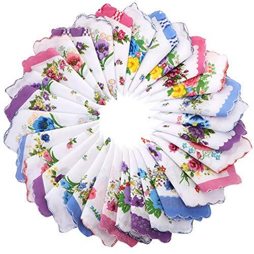 30 Stück Damen-Taschentücher aus weicher Baumwolle mit Vintage-Blumenmuster