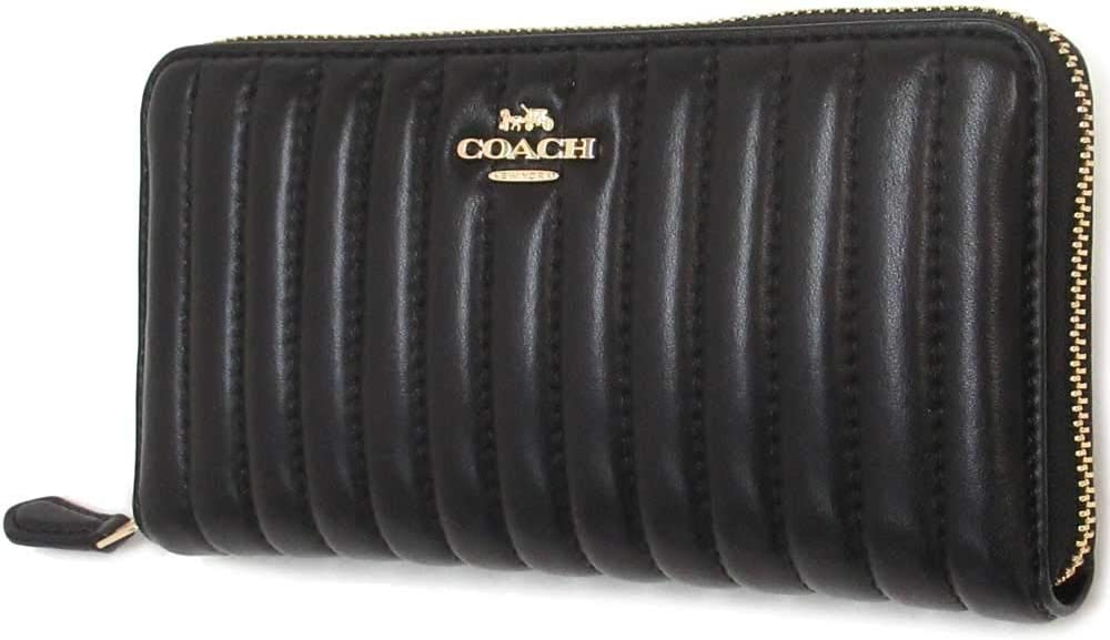 COACH WOMENS ACCORDION ZIP WALLET WITH LINEAR QUILTING (IM/BLACK)