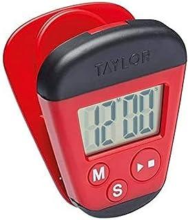 Taylor TYPTIM100CLIP Pro Digital Kitchen Timer med memo Clip och Magnetic Back, Plast, röd/svart