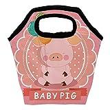 Heeh - Bolsa térmica para el almuerzo, diseño de cerdo, color rosa