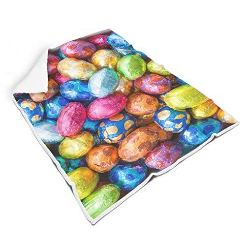 WOSITON Feliz Huevos de Pascua Alfombra Plaza Polar Material Suave Estilo Europeo Patrón Para Cumpleaños Coche Asiento Y A Para Niños Blanco 60x80 pulgadas
