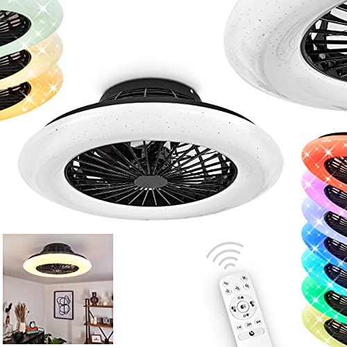 LED Deckenventilator Piraeus, Deckenlampe mit Ventilator aus Metall/Kunststoff mit Sternenhimmel-Optik, RGB Farbwechsler, dimmbar, Fernbedienung/Timer/Nachtlicht, 30 Watt, 2200 Lumen, 3000-6500 Kelvin