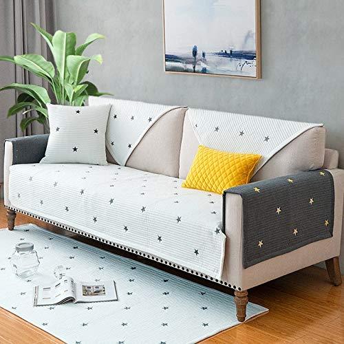 weichuang Fundas de sofá universales para cuatro estaciones, de algodón, funda de sofá y reposabrazos de 1/2/3/4 plazas para sala de estar (color: blanco, especificación: 70 x 70 cm)