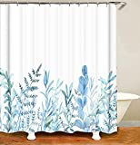 Blue Flower Shower Curtains for Bathroom,Watercolor Plant Leaf Shower Curtain, Eucalyptus Spring Shower Curtain with 12 Hooks, Waterproof Fabric Shower Curtains for Bathroom, 71x71inch