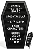 Nomnu Black Felt Coffin Letter Board - Gothic Decor Message Board for Halloween Decorations - 17x10.5 Inches, 500 White Changeable Characters, Wooden Stand. Spooky Halloween Decor Letterboard