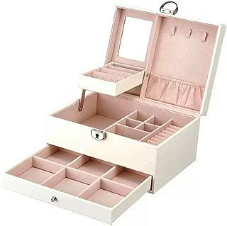 SZTulip ジュエリーボックス アクセサリーケース ジュエリー収納 大容量 鏡 鍵付き小物入れ トレイ付き 宝石箱 PUレザー(白)
