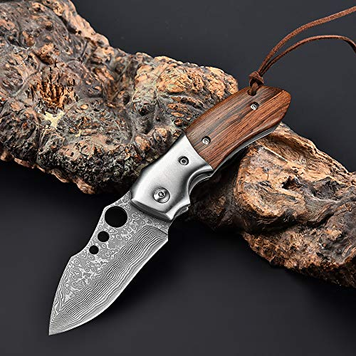 NedFoss Damast Klappmesser Damaskusmesser, Taschenmesser aus Damaststahl, Holzgriff, Folder Knife 7cm Klinge, Damastmesser mit Gürtelclip - extra scharf (Parrot)