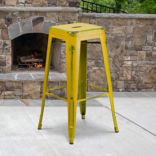 Flash Furniture Commercial Grade 4 Pack 30' High Backless Distressed Yellow Metal Indoor-Outdoor Barstool