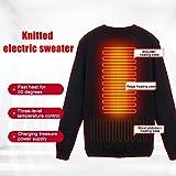 USB Sweat Chauffant Pull Électrique Veste Chaude Sous-vêtement Thermique Vêtements D'hiver Compatible Batterie Externe Température À 3 Niveaux Lavable Fibre De Carbone Unsex Pour Hommes Et Femmes