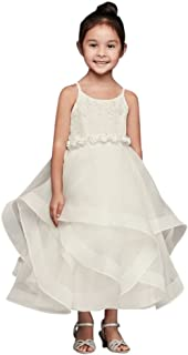 181c11f10e7 David s Bridal Lace and Tulle Flower Girl Communion Dress with Full Skirt  Style WG1371