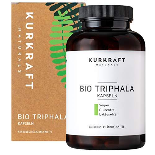 Kurkraft® Bio Triphala (180 Kapseln) - TÜV-Laborgeprüft - 500mg - Original ayurvedisch aus dem Perikarp - in Bio-Qualität - Vegan & Naturbelassen - Sorgfältig hergestellt in Deutschland