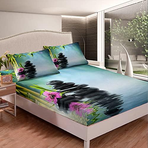 Juego de sábanas de chakra para niñas, árbol de bambú, juego de sábanas para niños, diseño de piedras de orquídeas, color gris carbón, verde lima y verde