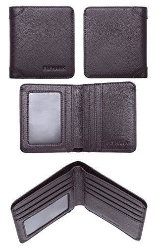 FlyHawk RFID Blocking Genuine Leather Wallets Mens Biford Mini&Slim Size Wallet (One Size, COFFEE – Mini Wallet – RFID Blocking – 2)