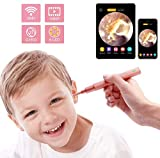 Ear Endoscope, 1080P Wireless Ear Wax Removal, Super Light Lens Earwax Cleaning Tool with 6 LED Lights, WiFi Ear Otoscope Camera with 3-Axis Gyroscope, Compatible with Smartphone & Tablet (Rose Gold)