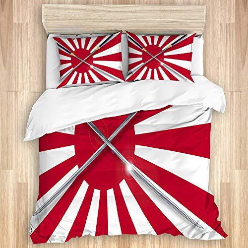 LISNIANY Bettwäsche Set,Rising Sun inspiriert japanische Flagge Zwei Lange symbolische Nationale Krieger Schwerter Design,1 Bettbezug 220x240cm+2 Kopfkissenbezug 80x80cm
