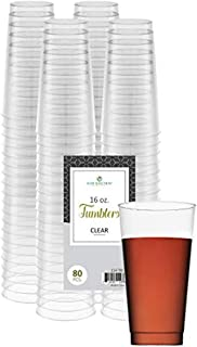 Clear Disposable Plastic Cups 16 Oz. Pack Of (80) Fancy Hard Plastic Cups - Party Accessories - Wedding - Cocktails- Tumblers