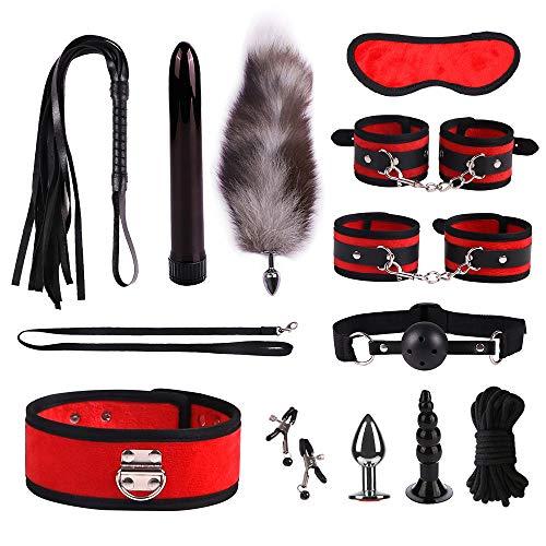 12 Piece Set SM Kit for Couple Adult Secs Suit, Nylon Leather Suit, Bsdm Plush Set,beginner