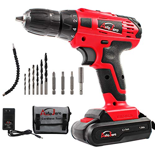 20V Max/18V Electric Cordless Drill - 3/8' Keyless Chuck, Lightweight Cordless Drill,Rechargeable Lithium-Ion battery Drill/Driver,Durable&Fast Application Speeds Dirll kit by AUTOJARE