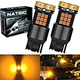 NATGIC 7440 7440NA 992 T20 LED Turn Signal Light Bulbs 3700LM 3030 45SMD Canbus Error Free Anti Hyper Flash for Car Front or Rear Turn Signal Lights, Amber/Yellow (Pack of 2)