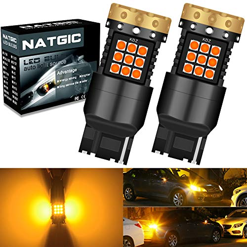 NATGIC 7440 T20 Bombillas de Luz LED de Señalización Direccional Ámbar 3700LM 3030 45 SMD Canbus sin Errores Anti - Hyper Flash para Luz de Señalización Direccional LED Delantera o Trasera (2-Pack)