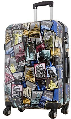 Polycarbonat Reisekoffer Trolley Hartschale - Design Weltreise Paris New York Athen Rio (Citykoffer)