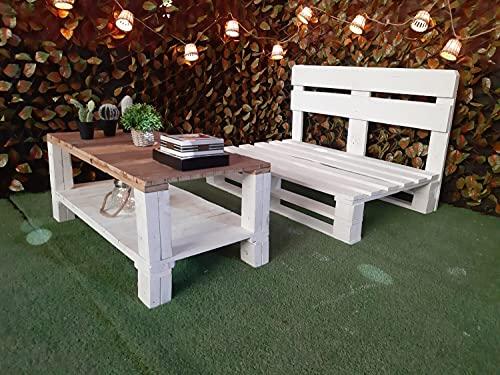 Juego de Sofa Y mesa con palets de madera, Sillones con pallets para colchones, cojines de 120 x 80 Salon, Jardin, Terraza, Patio
