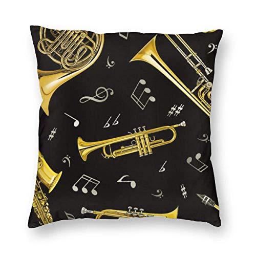 N\A Fundas de Almohada Decorativas - Fundas de Almohada cuadradas de Lujo Fundas de cojín para sofá Coche - Trompeta Trombón Cuerno francés,