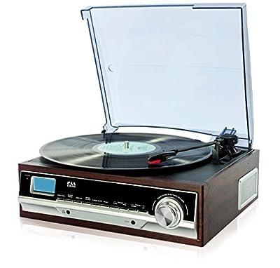 TURNTABLE RETRO DESIGN WOODEN RECORD PLAYER RADIO ALARM CLOCK AUX IN