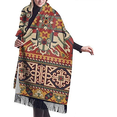 Elaine-Shop Bufanda grande Estilo caucásico Alfombra antigua Motivos Patchwork Chal Abrigo Bufanda...