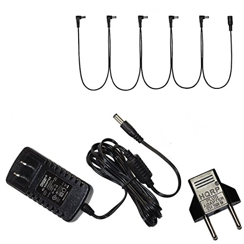 HQRP 9V AC Adapter & 5 Daisy Chain Cable for Danelectro Guitar Effect Pedals plus HQRP Euro Plug Adapter