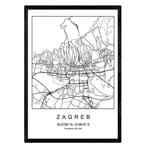 Stadtplan Blatt Zagreb skandinavischer Stil in schwarz und weiß. A3 Größe Plakat Das bedruckte Papier Keine 250 gr. Gemälde, Drucke und Poster für Wohnzimmer und Schlafzimmer
