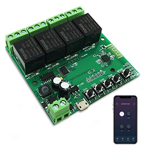 Newgoal Modulo relè Smart Switch WiFi a 4 canali, TUYA/App Smart Life per telecomando Smart Home, tempo momentaneo regolabile, compatibile con Alexa/Google Assistant