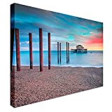 Qbbes, abandonado West Pier Brighton Sunset Canvas Wall Art Picture Print-16x12inch(40x30cm)Framed
