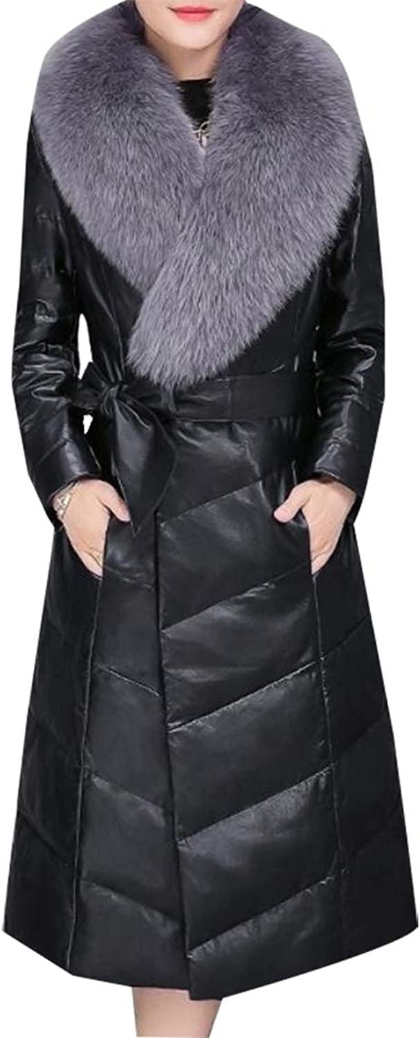 Jxfd Womens Long Sleeve Faux Fur Neck Puffer Thicken Warm Down Jacket Overcoat